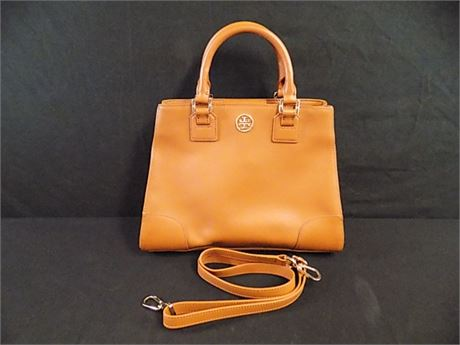 Tory Burch Brown Leather Robinson Top Handle Bag