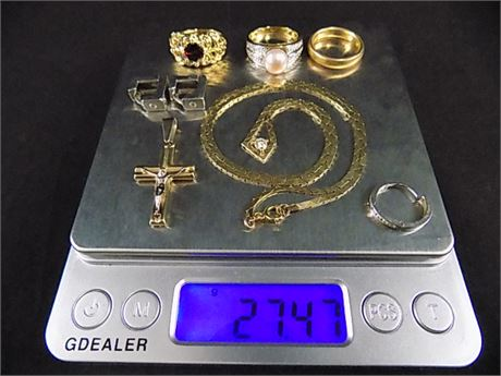 14K Gold Jewelry Lot: 27.47 grams (All Wearable+1 Scrap Earring)