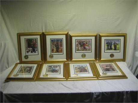 Lot Of 8 EMMETT KELLY Signed Prints Framed