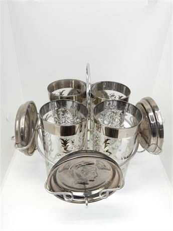 Vintage Kimiko Silver Highball Glasses Roman soldier Coasters With Caddy Stand