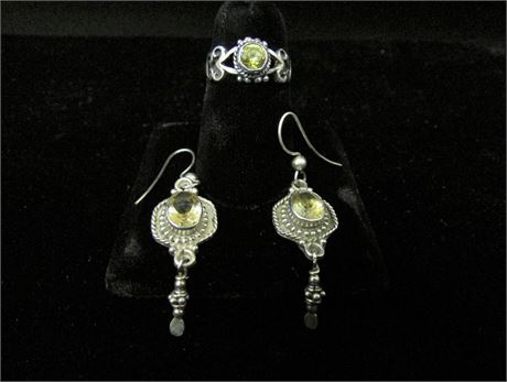 925 Silver Citrine Ring and Earring Set