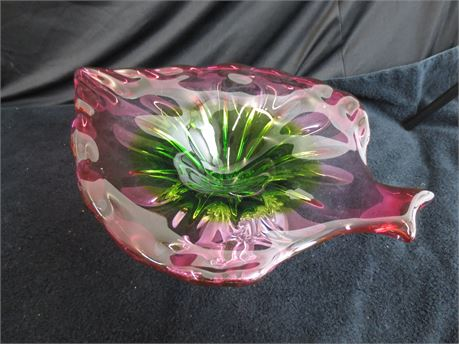 Beautiful Pink and Green Leaf Shaped Platter or Fruit Bowl on Pedestal