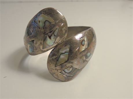 Sterling Silver & Abalone Retractable Cuff Bracelet Tribal Signed 60.4 Grams