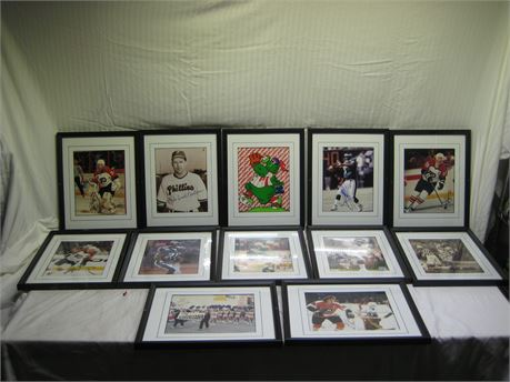 Lot Of 12 Autographed Pictures Of Philadelphia Professional Sports Players