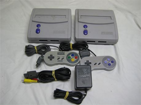 Lot Of 2 Nintendo Super NES Control Decks + Accessories Untested