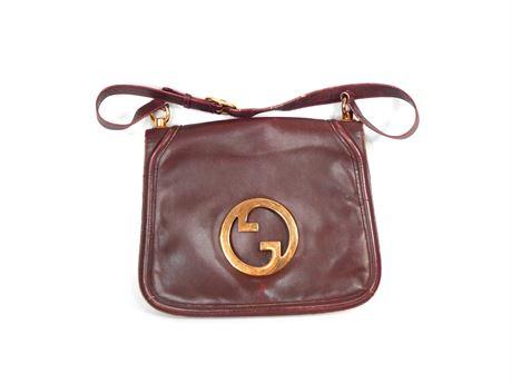 Rare Vintage GUCCI Blondie Burgundy Leather + Suede Handbag Gold Tone Hardware