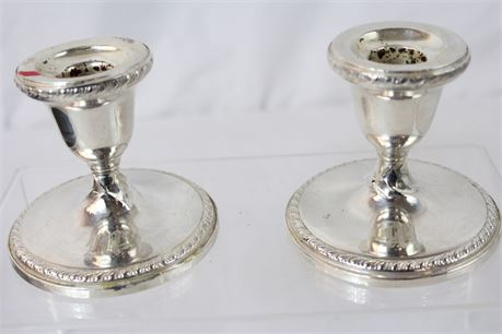 558 g Vintage Weighted Sterling Silver Candlestick Holders 3.5""