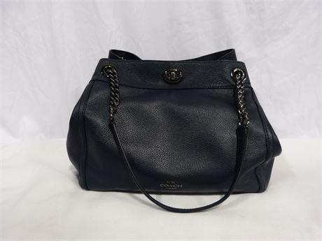 Coach Dark Blue Top Handle Bag