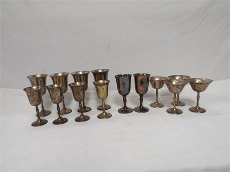 Set of 14 Silver Plated Wedding Cordials