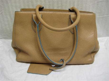 COLE HAAN Tan & Teal Handbag