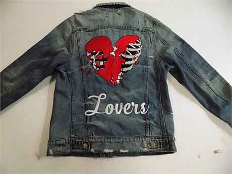 Amiri Blue Denim 'Lovers' Trucker Jacket, Size: S