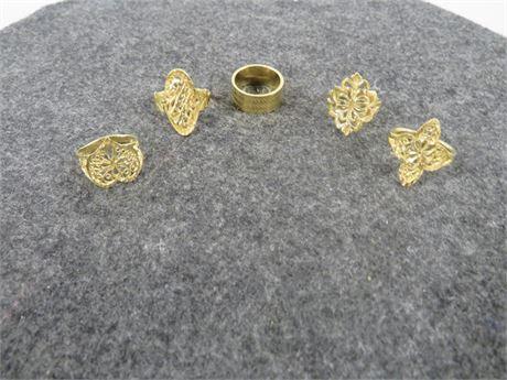 Lot of 5 Gold Tone Rings (230-LV6UU)