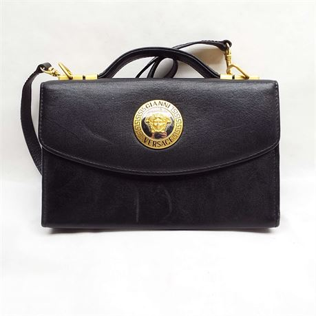 Gianni Versace Black Cross Body Tote With Single Top Handle