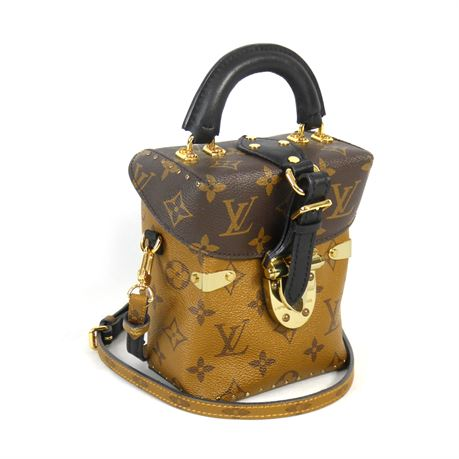Louis Vuitton Crossbody Latching Two Tone Monogram Glazed Leather Squared Pouch