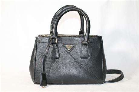 PRADA Black Saffiano Lux Leather Small Double Zip Tote Bag