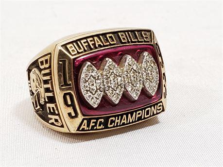 Buffalo Bills 1993 AFC Champions Jostens 10K Yellow Gold Diamond Ring.