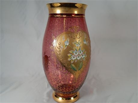 Large Bohemian Glass Vase with Porcelain Flowers  (270r4bs2)