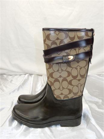 Coach Brown Signature Rain Boots