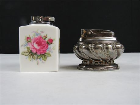 Lot of 2 Collectible Vintage Table Top Lighters  (650)