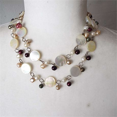 Pearl Necklace With Flat Disc Beads Possible Mother Of Pearl