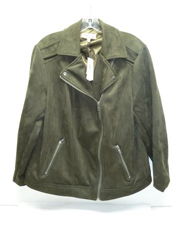 Philosophy (Faux Leather) Poly Blend Jacket: Dark Olive, Sz.1x, NEW W/Tags