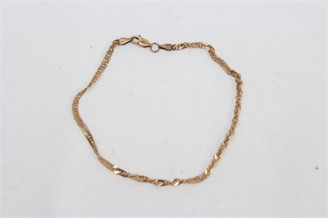 3.3 g Vintage 14k Yellow Gold Ankle Chain Anklet 8 in