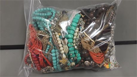 Lot Of Mixed Quick Sorted Costume Jewelry. 10 Lbs. 10.9 oz. W/ Bag