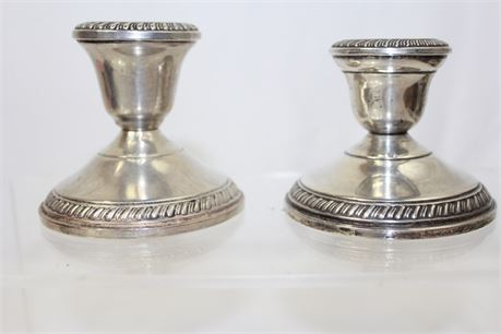 2 Vintage Weighted Sterling Silver Candle Holders 412 g