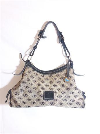 "Dooney & Bourke Black/Gray Shoulder Strap Bag 14"" X 7"" X 2"""