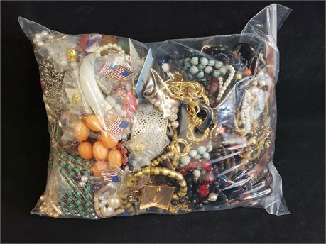 Lot Of Mixed Costume Jewelry. 13 Lbs. 0.6 oz. W/ Bag