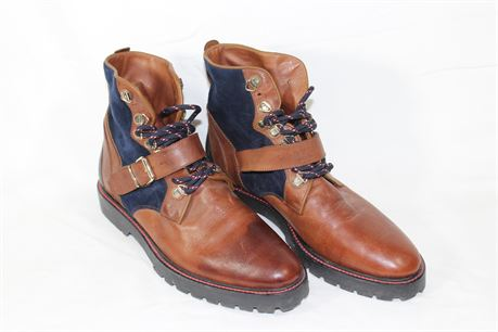 Burberry Utterback Brown/Blue Suede Ankle Boots, Size EUR: 39 1/2 W