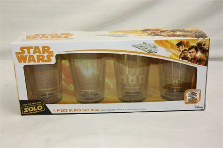 NEW Star Wars SOLO 4 Piece Glass Set