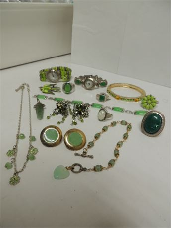 All Things Green Jewelry Lot With Some Sterling Silver Pieces