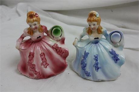 2 Vintage CAFFCO Women in Dresses Porcelain Planter Vases
