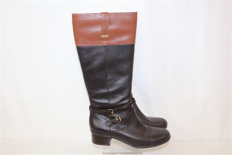 BANDOLINO Brown Black Leather Upper Zip Up Riding Boots Size 9.5