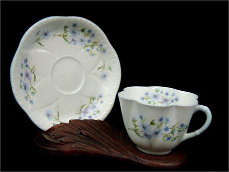 Vintage Shelley 'Blue Rock' Bone China Teacup & Saucer Made in England