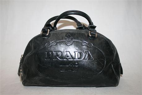 PRADA Leather Embossed Logo Bowler Bag