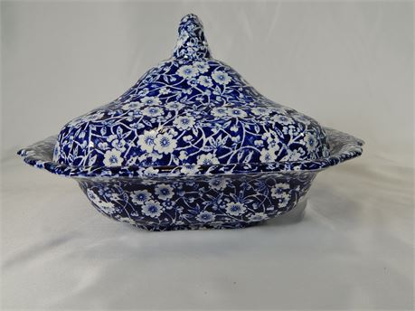Blue Calico Covered Vegetable Dish(270r2bs2)