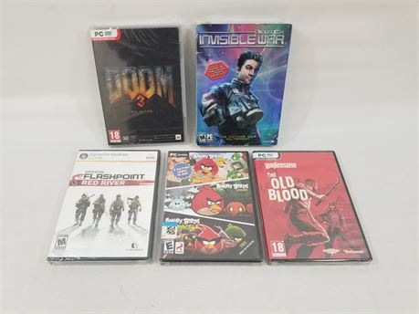 Lot Of 5 (NEW) PC DVD Rom Games