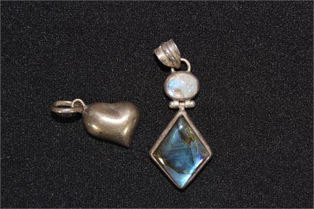 Sterling Silver Pendants w/Stones, 14.34 Grams