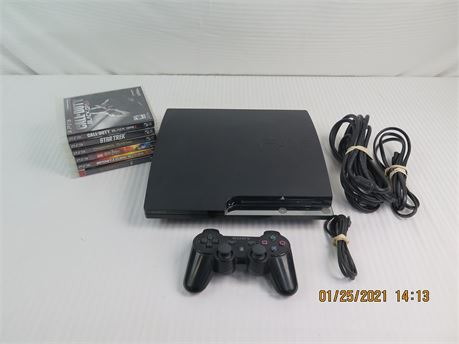 Sony PlayStation 3 PS3 CECH-2501A 160GB Console w/ Controller, 6 Video Games