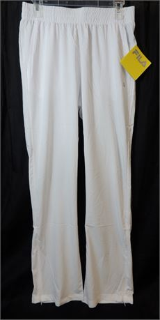 NWT Fila Athletic Pant Mens White Thin Foundation Stretch Pants Size Small (579)