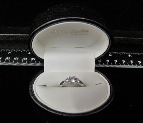 Three Stone CZ 925 Silver Ring