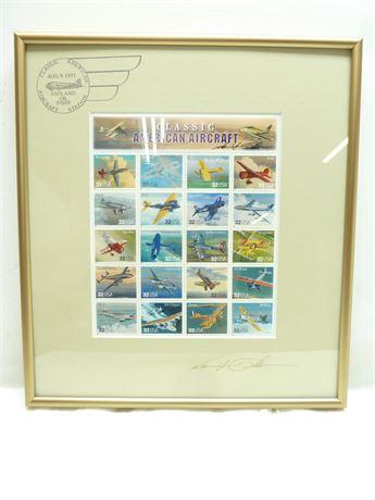 "Classic American Aircraft; Framed Stamp Block, Ashland Oregon, 12.5""x11"""