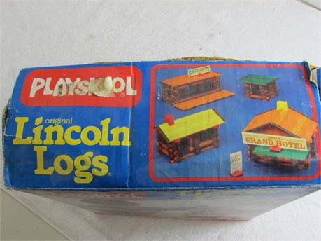 Playskool Original Wooden Lincoln Logs with the box.