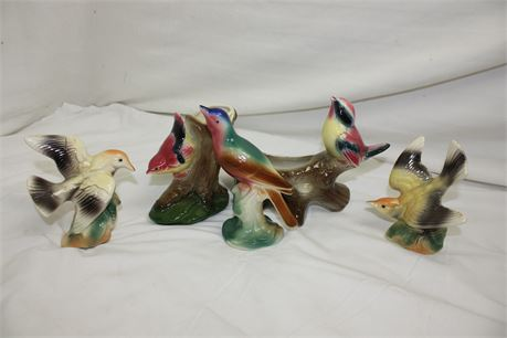 5 Vintage Royal Copley China Bird Figurines/Planters