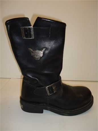 Mens Harley Davidson Boots Black Leather Size# 11.5 Pre-Owned