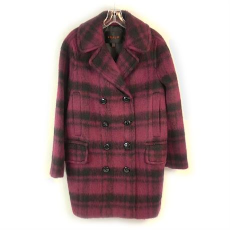 Coach Plaid Dark Cranberry Wool Blend Long Peacoat Women's Size Medium F86235