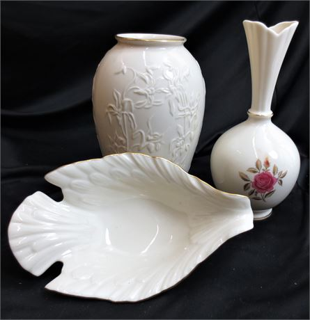 2 Lenox Vases and Dove Serving Dish