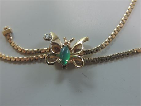 Butterfly Adjustable 14kt Gold Bracelet With Green Stone